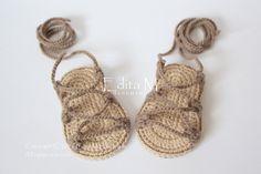 Crochet sandalias de bebé sandalias de gladiador por EditaMHANDMADE
