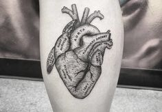 Anatomical heart tattoos are designed in a more realistic way, symbolizing various feelings in a more metaphorical and darker style.
