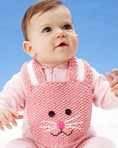 Ravelry: Easter Bunny Bib pattern by Lily / Sugar'n Cream Knitting For Kids, Crochet For Kids, Loom Knitting, Knitting Projects, Baby Knitting, Crochet Projects, Knitting Patterns, Crochet Patterns, Free Knitting