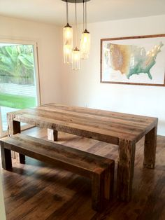 Reclaimed American Oak Dining Table and 2 Benches