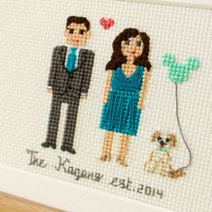 2 Adults And A Pet. Custom Cross Stitch Cotton by RussianStitches