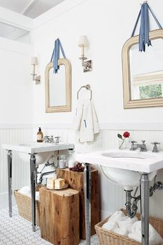 Modern Victorian Bathroom. Marble console sinks, gold mirrors, wood accents    Photo: Robbie Caponetto | thisoldhouse.com | from Create an Updated Victorian Bath