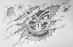 Vodafone Warriors inspired artwork by Robby Payne #drawing #logo #pencil #art #warriors #WarriorsArt