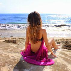 Me Poopsie wearing BBE fuchsia halter cover-up dress on San Diego beach !!  #open #back #fuchsia #coverup #dress #beachwear #BBE #summer #beach #bikini #fashion #instastyle