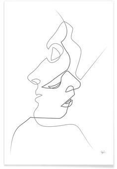 Faces Line Drawing Poster Face Line Drawing, Single Line Drawing, Line Art Design, Minimalist Drawing, Minimalist Art, Art Sketches, Art Drawings, Art Minimaliste, Minimal Drawings