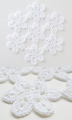 28-50 Soft Lace Motif Doily, free pattern by Pierrot (Gosyo Co., Ltd). Fingering weight cotton, hook size 'B'. #crochet #flower
