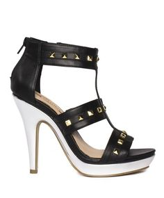 Black studded gladiator \\ silver stiletto \\ SHOE SEPARATES