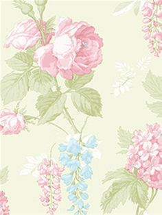 Love this delicate rose-patterned wallpaper. The pink flowers and pale green background compliment each other so well.   From the book Rose Garden AmericanBlinds.com