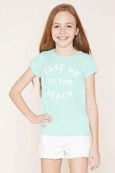 "Forever 21 Girls - A knit tee with a ribbed crew neckline, short sleeves, and a glittery ""Take Me To The Beach"" graphic on its front. #f21kids"