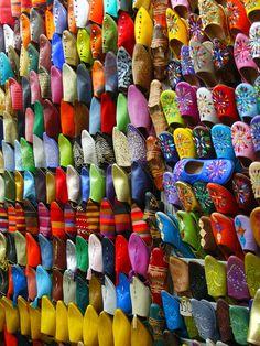 Souk. Shoe market Morocco.  (by banklins, via Flickr)