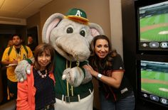 Guests received a visit from Stomper, the official mascot of the Oakland A's who stopped by to take photos and encourage the cheering for the East Bay team. #cbbattleofthebay