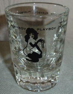 d46d82dafe2 Vintage Black Logo Playboy Key Club Bunny Sexy Nude Femlin Jigger Shot Glass  Hugh Hefner