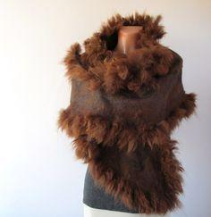 Felted scarf alpaca fur  brown wrap. $189.00, via Etsy.