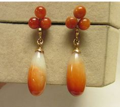 Unique Vintage Estate 14KT Gold Red Jade Balls And Drop Earrings by Alohamemorabilia