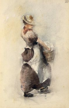 The Hodgkins' family maid, Euphemia or Phemie, carrying a basket of washing. Quantity: 1 watercolour(s). Physical Description: Pencil and waterco. Still Life Pictures, Laundry Art, Neo, Gcse Art, Historical Pictures, Painters, Figurative, Carry On, New Zealand