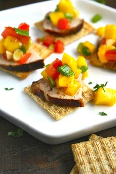 Try this filling and flavorful appetizer for your next gathering: Pork Tenderloin Bites with Mango Salsa  #ad #MadeForMore #Walmart
