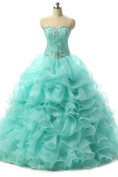 Quinceanera Organza Ball Gown Sweetheart Crystal sweet dress