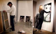 Les deux artistes Christophe Miralles et Florence Arnold accrochent leur tableau chez Album!