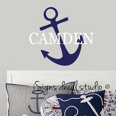 NAUTICAL - Anchor Personalized Vinyl Wall Decal, Wall Stickers, Nursery, Kids Decal Sticker