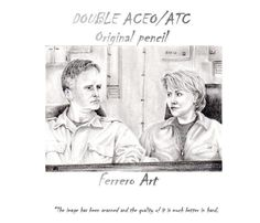ORIGINAL PENCIL double ACEO sketch card. Jack ONeill  y Samantha Carther sg1 Stargate tv series, characters series. de FerreroArt en Etsy