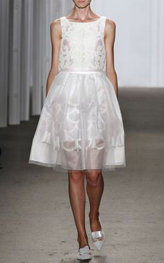 NY Fashion Week, preorder Honor Spring 2015 Trunkshow Look 34 - White Neoprene Laser-Cut Cropped Top and Layered Skirt With Organza Embellished Tulips