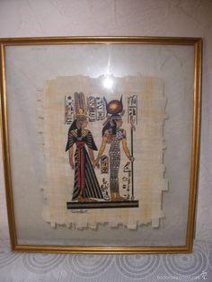 MARCO CON CRISTAL Y PAPIRO EGIPCIO,cuadro con papiro de Egipto
