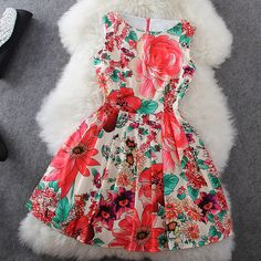 Flower print sleeveless dress HT625J