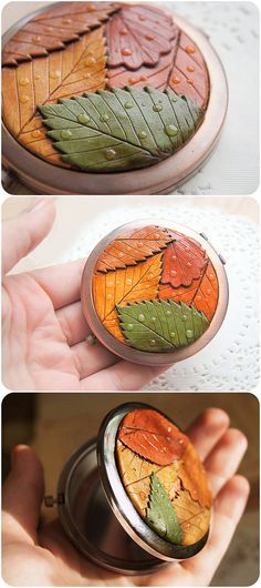 Rustic Autumn Pocket Mirror Nature Colorful Leaf by YaTomkaStore