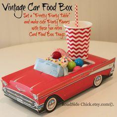 Coche Favor caja, 6 rojas y blanco coche Favor cajas, partes de coche, coche clásico alimentos, caja de comida de coches de época, Favor de partido, bandeja del alimento, tabla posiciones