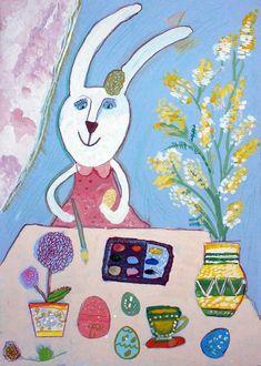 4 Kids, Art For Kids, Rabbit Baby, Baby Art, Art Education, Art Lessons, Folk Art, Art Projects, Kindergarten