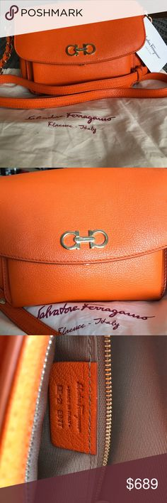 Ferragamo Sandrine Crossbody🍊NEW WITH TAGS Brand new with original tags and dustbag! This bag is beautiful and perfect for spring :) I have proof of purchase if needed! Please don't hesitate to make an offer or ask any questions Ferragamo Bags Crossbody Bags