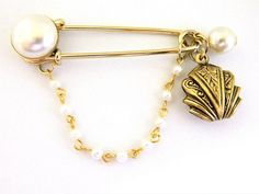 """Jumbo Safety Pin Coat Sweater Skirt Brooch Faux Pearl Art Nouveau Charm 3.5"""""""