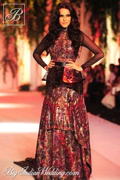 Neha Dhupia for Falguni & Shane Peacock at India Bridal Week 2013