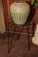 """Metal 18"""" Plant Stand with Clay Pot"""