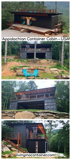 Appalachian Container Cabin built from shipping containers in the Smoky Mountains - Haus Ideen Cargo Container Homes, Shipping Container Home Designs, Building A Container Home, Storage Container Homes, Container Buildings, Container Architecture, Container House Plans, Container House Design, Shipping Containers