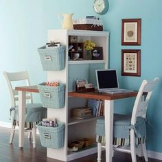No instructions, but requires a bookshelf and a table cut in half -- small office/homework space for two!