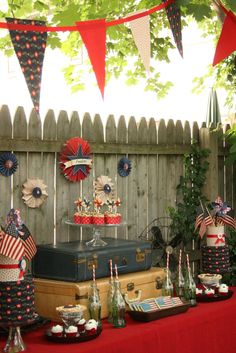 WWII inspired vintage 4th of July dessert display. I LOVE the tribute - what the holiday is all about! Celebrating our freedom that isn't free!