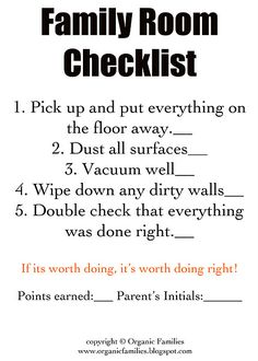 Detailed Chore Cards for every room of the house to be used with a chore chart! Love this idea! Kiddos are never to old for chores. Chore Checklist, Chore List, Cleaning Checklist, Cleaning Hacks, Cleaning Schedules, Household Checklist, Cleaning Solutions, Household Tips, Household Chores