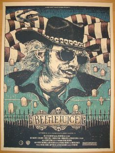 """Beetlejuice - silkscreen movie poster (click image for more detail) Artist: Rich Kelly Venue: Alamo Drafthouse Location: Austin, TX Date: 10/30/2010 Edition: 195; signed and numbered Size: 18"""" x 24"""" C"""