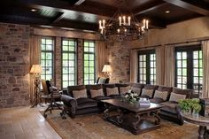 living-room-design-ideas-in-brown-and-beige-classic-interior-beige-curtains-sectional-brown-sofa-dark-wood-ceiling