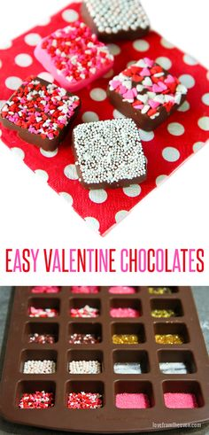 Easy chocolates for Valentine's Day! Such a great idea, put different sprinkles in each part of the mold and you have a fabulous variety of candies! Great for Valentine's Day. Valentines Day Chocolates, Valentine Chocolate, Valentines Day Treats, Holiday Treats, Bar A Bonbon, Chocolate Candy Molds, Chocolate Party, Chocolate Chocolate, Party Fiesta