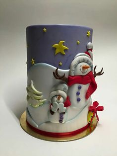 Snowman landscape by Cecilia Campana - Cake Decorating Writing Ideen Christmas Themed Cake, Christmas Cake Designs, Christmas Cake Pops, Christmas Cake Decorations, Holiday Cakes, Noel Christmas, Christmas Desserts, Christmas Treats, Christmas Baking