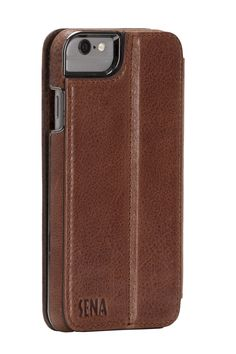 Sena Heritage Wallet Book , Leather Wallet Book Case for iPhone 6/6s - Cognac