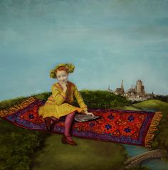 Magic Carpet Art PRINT, Girl, Flying Carpet, magical, fantasy, flying, Victorian, castles, archival by DawnSiebel