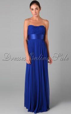 Allure Sheath Floor-length Strapless Royal Blue Chiffon Dress