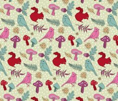 FABRIC  Quirky Critters fabric by patternhillstudio on Spoonflower - custom fabric