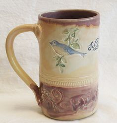 Stoneware blue bird 16oz ceramic coffee mug 16B048 by desertNOVA, $22.00