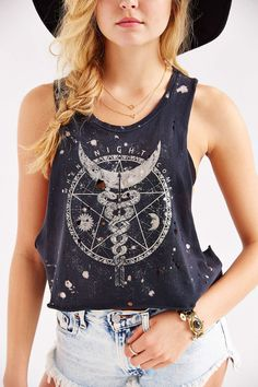 Black Moon When Night Muscle Tee - Urban Outfitters