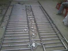 Steel Grill Design, Steel Railing Design, Fence Gate Design, Door Grill, Welding And Fabrication, Main Gate, Iron Doors, Bricks, Metal Art