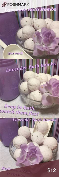 Lavender Bath Bombs 1 Dozen Lavender bath bombs 1dozen! 3 oz each. Handmade with real lavender buds. Each bath bomb is filled with special combination of skin hydrating oils to restore moisture to dry skin. These are round ball shaped bath bombs. Size comparable to a golf ball but a bit bigger. Perfect size for an adult bath. For a kids bath just break in half. Lavender is a calming scent known to promote relaxation and reduce stress. Helpful with insomnia too. Drop in bath watch it fizz…